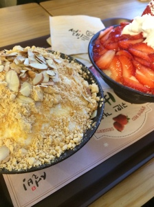 Strawberry and Injeolmi Bingsu