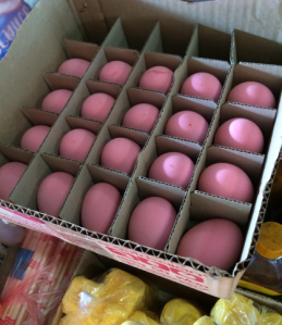 Pink salted eggs